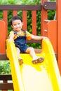 Boy enjoy playground outdoor asian Stock Image