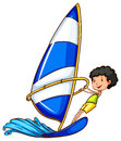 A boy enjoying the watersport coloured sketch of on white background Stock Photo