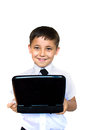 Boy enthusiastically looking at laptop Royalty Free Stock Images