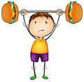 Boy and excercise illustration of on a white background Royalty Free Stock Image
