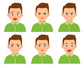 Boy face expression set Royalty Free Stock Photo