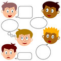 Boy Faces with Speech Bubbles Royalty Free Stock Photo