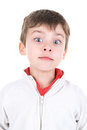 Boy faces young making isolated in white Royalty Free Stock Photos