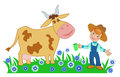stock image of  Boy farmer and a cow