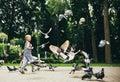 Boy feeding pigeons birds in park Royalty Free Stock Photo