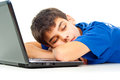 Boy fell asleep on a laptop nice guy Stock Photos