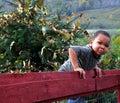 Boy on Fence Royalty Free Stock Photo
