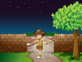 A boy and a fence illustration of in dark night Stock Photography