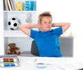 Boy finished his homework in blue shirt Stock Photos