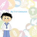 Boy first communion invitation card Stock Photos