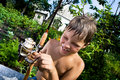 Boy with a fishing rod Royalty Free Stock Image
