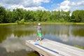 Boy Fishing Still Pond Royalty Free Stock Photo