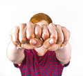 Boy with fist isolated on white background Royalty Free Stock Photo