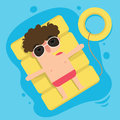 The boy floating on inflatable,summer vacation fun Royalty Free Stock Photo