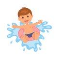 Boy floats on lifebuoy vector illustration of summer vacation at sea Stock Image