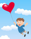 Boy flying with heart balloon cute in a blue sky a shaped useful also as a greeting card for st valentines or saint valentine s Royalty Free Stock Images