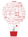 Boy flying in i love you hot air baloon smiling with red heart hands towards hiw girlfriend composed of words Stock Images