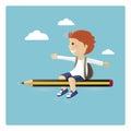 Boy flying in a pencil