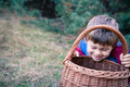 Boy in forest cheerful young look into basket for berries or mushrooms Stock Photography