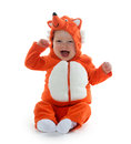 Boy in fox costume month old baby on white background Royalty Free Stock Photography