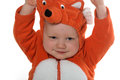 Boy in fox costume month old baby on white background Stock Photography