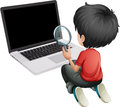 A boy in front of a laptop holding a magnifying lens illustration on white background Stock Images