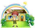 A boy in front of the library in the hilltop illustration on white background Stock Photography