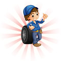 A boy in front of a wheel with a blue cap illustration on white background Royalty Free Stock Images