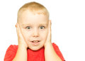 Boy with funny amazed expression surprise concept on white background Stock Images