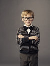 Boy in funny glasses, little smat child fashion portrait Royalty Free Stock Photo