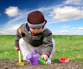 boy in the garden Royalty Free Stock Photo