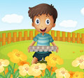 A boy in the garden holding an empty egg tray illustration of Stock Photos