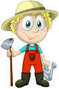 Boy gardener character cartoon style illustration white joyful young dressed in bright orange jumpsuit holding a watering can and Stock Photo