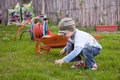 Boy gardening Royalty Free Stock Photos