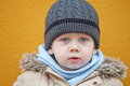 The boy gazes looks into camera Royalty Free Stock Photo