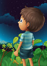 A boy gazing at the sky illustration of Stock Photos
