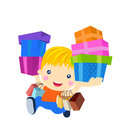 A boy with gift box and bag cartoon Royalty Free Stock Images