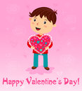 Boy with gift valentines day card vector Royalty Free Stock Photography