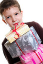 Boy with gifts Stock Photo