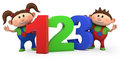 Boy and girl with 123 numbers Royalty Free Stock Photography