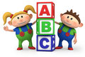 Boy and girl with ABC blocks Royalty Free Stock Photo