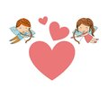 Boy and girl angel icon. Love design. Vector graphic