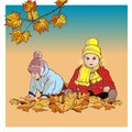 Boy and girl in autumn clothes playing with leaves on the street vector cartoon illustration. Brother and sister, children Royalty Free Stock Photo