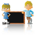 A Boy and a Girl with a blackboard Royalty Free Stock Photography