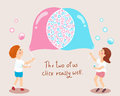 Boy and girl blowing soap bubbles love concept illustration Royalty Free Stock Photo