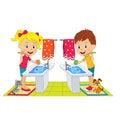 Boy and girl brush teeth