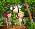 Boy and girl camping in the woods