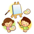 The boy and girl is with canvas in painting education and life character design series Royalty Free Stock Images