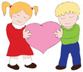 Boy and girl carry the pink hearth Royalty Free Stock Image