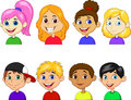 Boy and girl cartoon collection set illustration of Stock Image